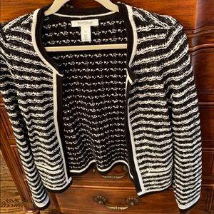 Black, white & silver knit cardigan
